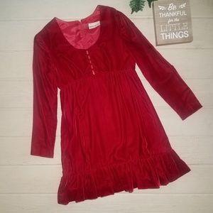 Vintage 70s Crimson Red Velvet Babydoll Dress